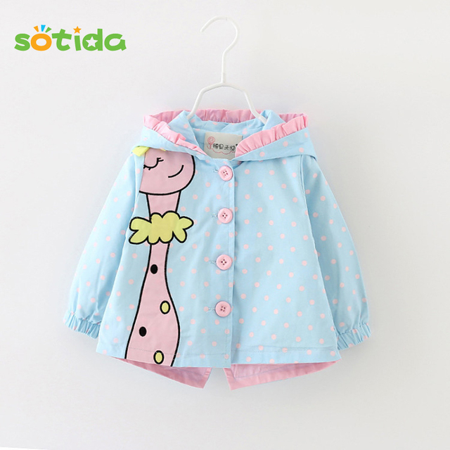 Sotida Baby Jackets&Coats 2017 New Spring Baby girls Clothes Fashion Cartoon Kids Coats dots hooded Children Outerwear&Coats