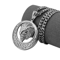 Hot Fashionable Stainless Steel Jewelry Party Titanium Steel Sun Lion Head Necklace Gifts Vintage Punk Style