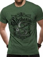 Slytherin Shrewder كريست هوجوورتس شعار الأخضر قميص رجالي 2019 العلامة التجارية الجديدة ملابس الرجال بلوزات مستديرة العنق باردة النيون تي شيرت