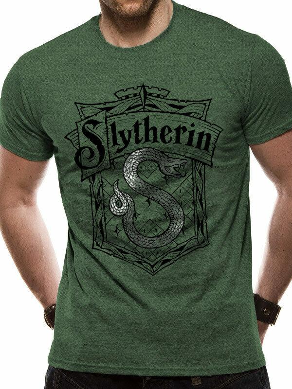 Slytherin Shrewder Crest Hogwarts Logo Green Mens T-Shirt 2019 New Brand Clothing Men Cool O-Neck Tops Neon T Shirts