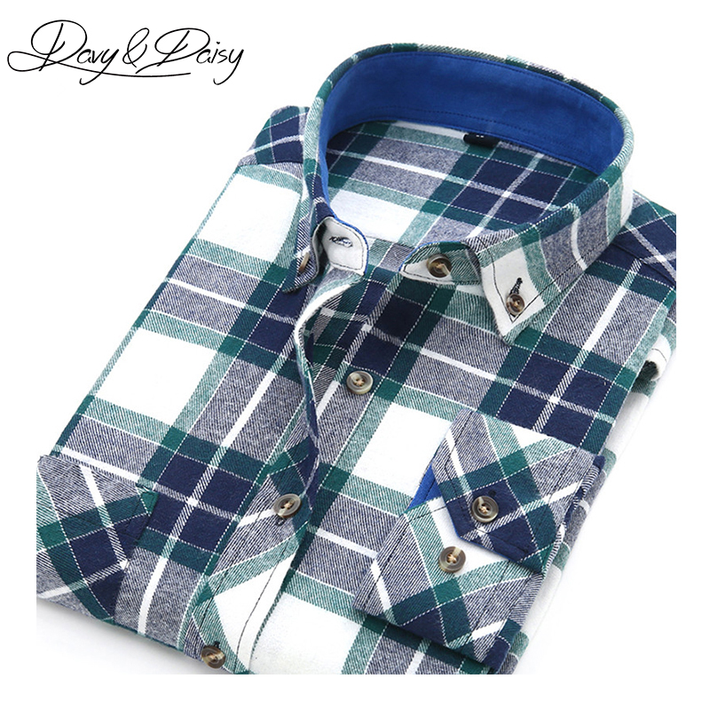 Casual Shirts Brand Flannel Men Shirt 2019 New Long Sleeved Plaid Shirt Collar Sanding Tip Fashion Leisure Shirt Male Shirts Camisa S-4xl Shirts