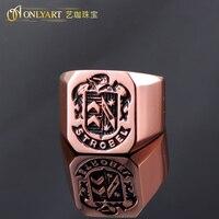 OnlyArt free shipping strobel name signet big male ring rose golden color men ring strobel 10US size