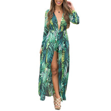 2017 Autumn Dress Sexy Deep V Neck Long Sleeve Women Beach Boho Dress Leaf Print Split Green Maxi Long Dress Vestidos