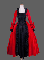 Long Sleeve Dress Gothic Red Victorian Dress Gothic Long Dresses Two Piece/southern belle costume victorian dress costume