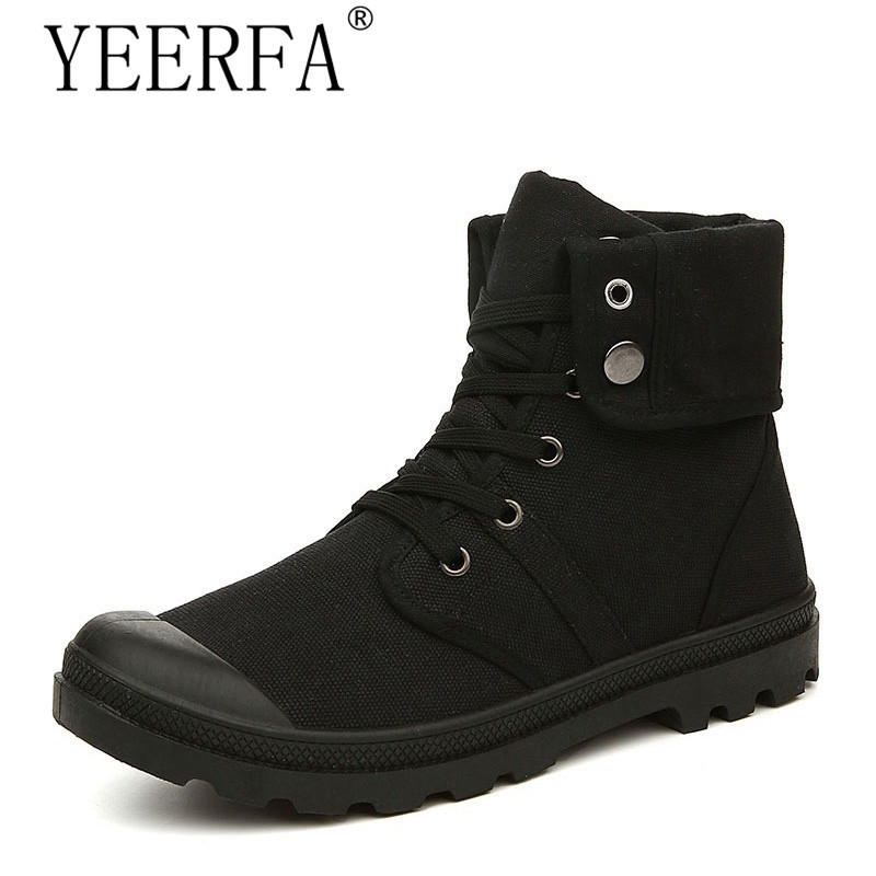 Autumn Winter Men Canvas Boots Army Combat Style Fashion High-top Military Ankle Boots Men's Shoes Comfortable Sneakers new palladium fashion style high top tactical military boots man and woman outdoor travel hiking boots comfortable canvas shoe