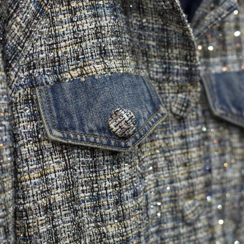 Top Kwaliteit Womens Diamonds Plaid Tweed Patchwork Denim Jassen Lange Mouwen Single Breasted Streetwear Vrouwelijke Bovenkleding Jassen - 6
