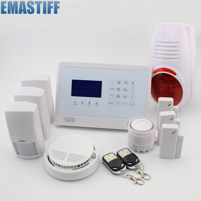 APP Controlled Wireless GSM Home Security Alarm System, 850/900/1800/1900MHz, Smoke Sensor, Touch Panel,3 PIR Sensor kerui wireless wired gsm voice burglar home house security alarm app control tft touch panel wireless smoke detector pir sensor
