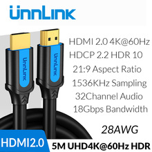 Unnlink HDMI Cable HDMI to HDMI 2.0 HDR HDCP2.2 UHD4K@60Hz 3m 5m 8m 10m 15m 20m for HDMI Splitter Switch PS4 TV Box Projector цена в Москве и Питере