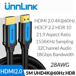 Unnlink HDMI Cable HDMI to HDMI 2.0 HDR HDCP2.2 UHD4K@60Hz 3m 5m 8m 10m 15m 20m for HDMI Splitter Switch PS4 TV Box Projector