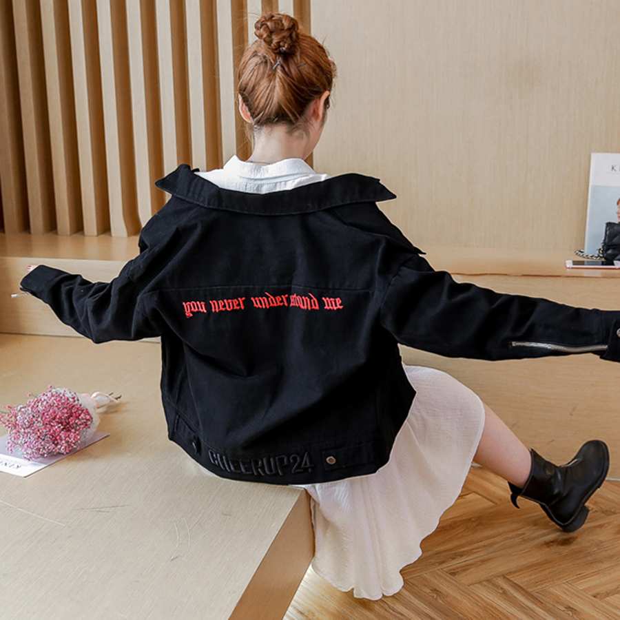 Red Jacket Letter Print Women Plus Size Fashion Denim Jacket Autumn