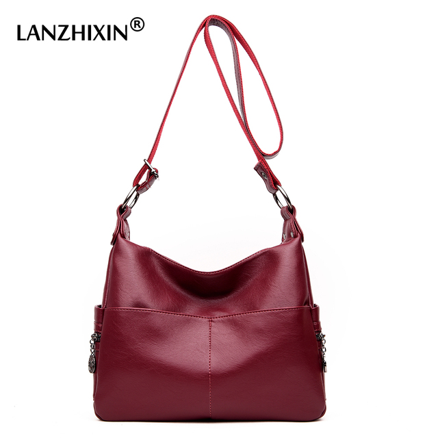 Lanzhixin Women Washed Leather Handbags Shoulder Bags Messenger Luxury Designer Crossbody Top