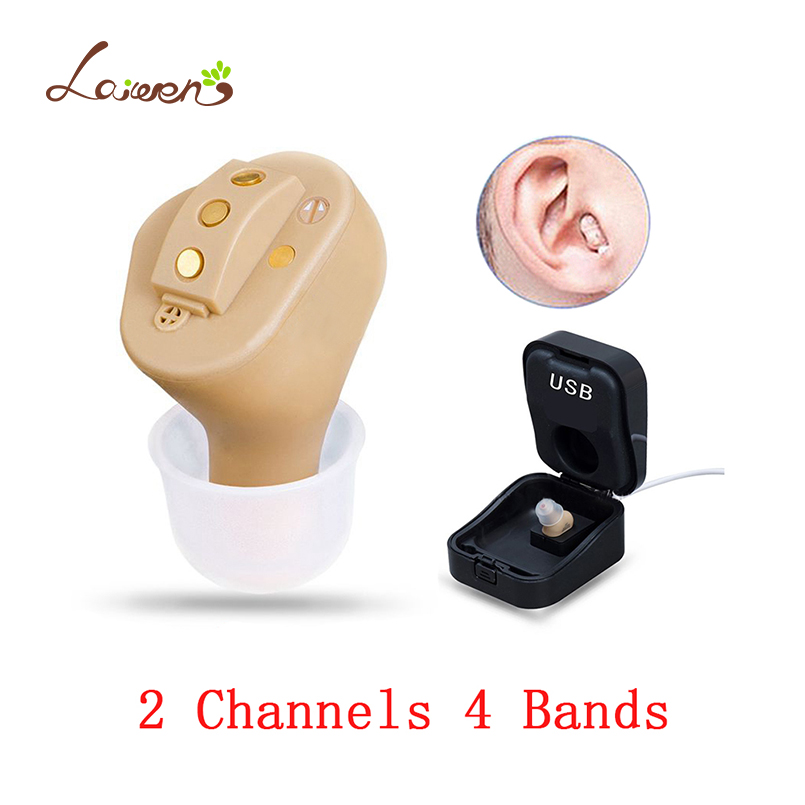 Rechargeable Invisible Complete In Ear Digital Hearing Aid 2/4/6 Channels 4/6/8 Bands USB Rechargeable CIC Hearing Aids