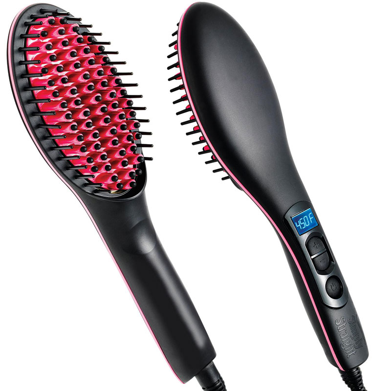 Electric Straight Ceramic Hair Straightening Brush Smooth Hair Comb Anti-Frizz Lonic Salon Quality For All Hair Types цена