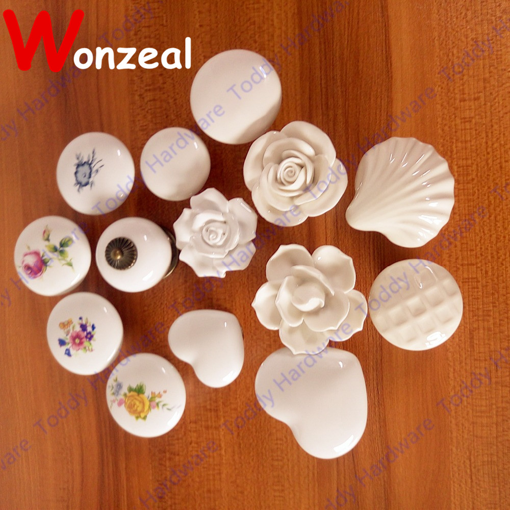 Single hole Ceramic knob Kitchen Furniture knob cabinet knob drawer knob with rose flower print phoenix kitchen cabinet drawer knob furniture handel