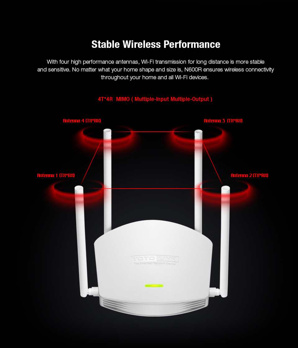 TOTOLINK N600R Wireless Router WIFI Repater Up 5dBi Antennas English 4T*4R MIMO
