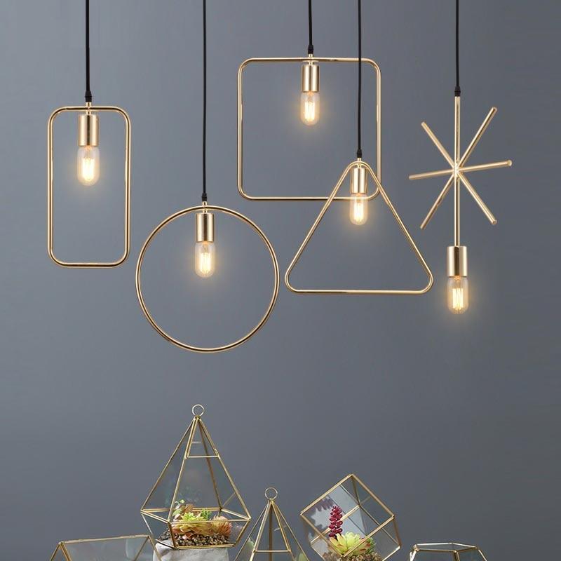 Creative Personality Single Head Restaurant Pendant Lights Clothing Shop Nordic Living Room Hallway Bar Modern  Geometry Lamp