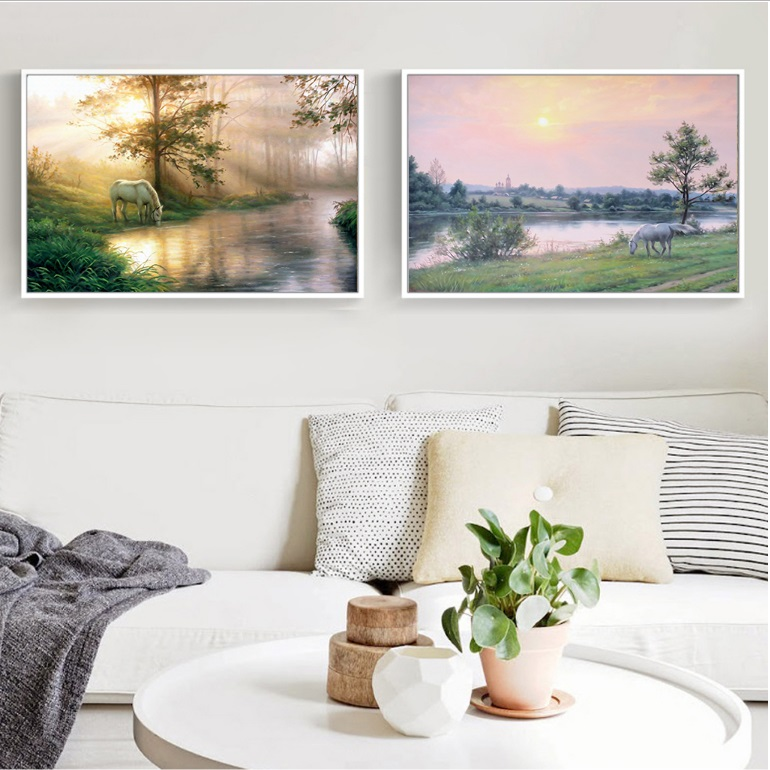 Simple Sunset Horse 2 Pieces Decorative Paintings Wall Art Print Picture Canvas Painting Poster For Living Room No Framed In Calligraphy From