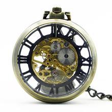 Vintage Watch Necklace Steampunk Skeleton Mechanical Fob Pocket Watch Clock Pendant Hand-winding Men Women Chain Gift
