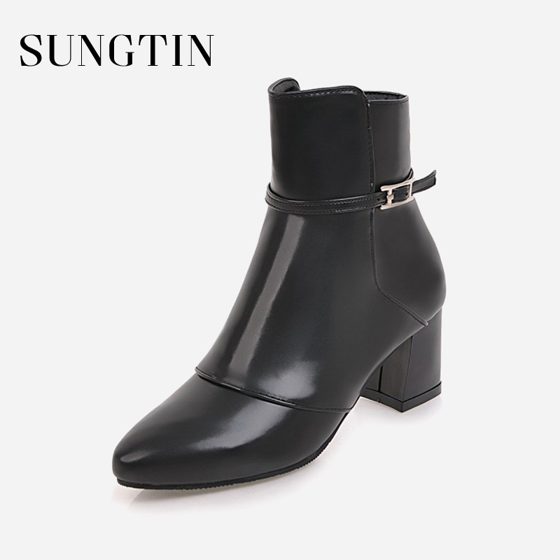 Sungtin 2018 New Buckle Strap Ankle Boots Women Sexy Block Heel Pointed Toe Short Boots Ladies High Heels Booties Big Size 43 sexy women s short boots with square buckle and pointed toe design