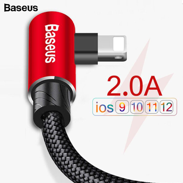 Baseus 90 Degree USB Fast Charging Data Cable For iPhone XS Max XR X 8 7 6 6s 5 5S iPad
