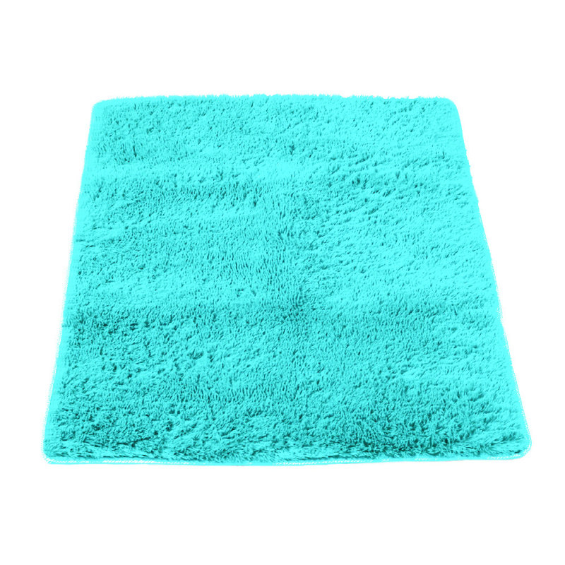 solid square carpet fluffy blanket shaggy rug anti slip home bedroom bath room floor carpets mat - Fluffy Rugs