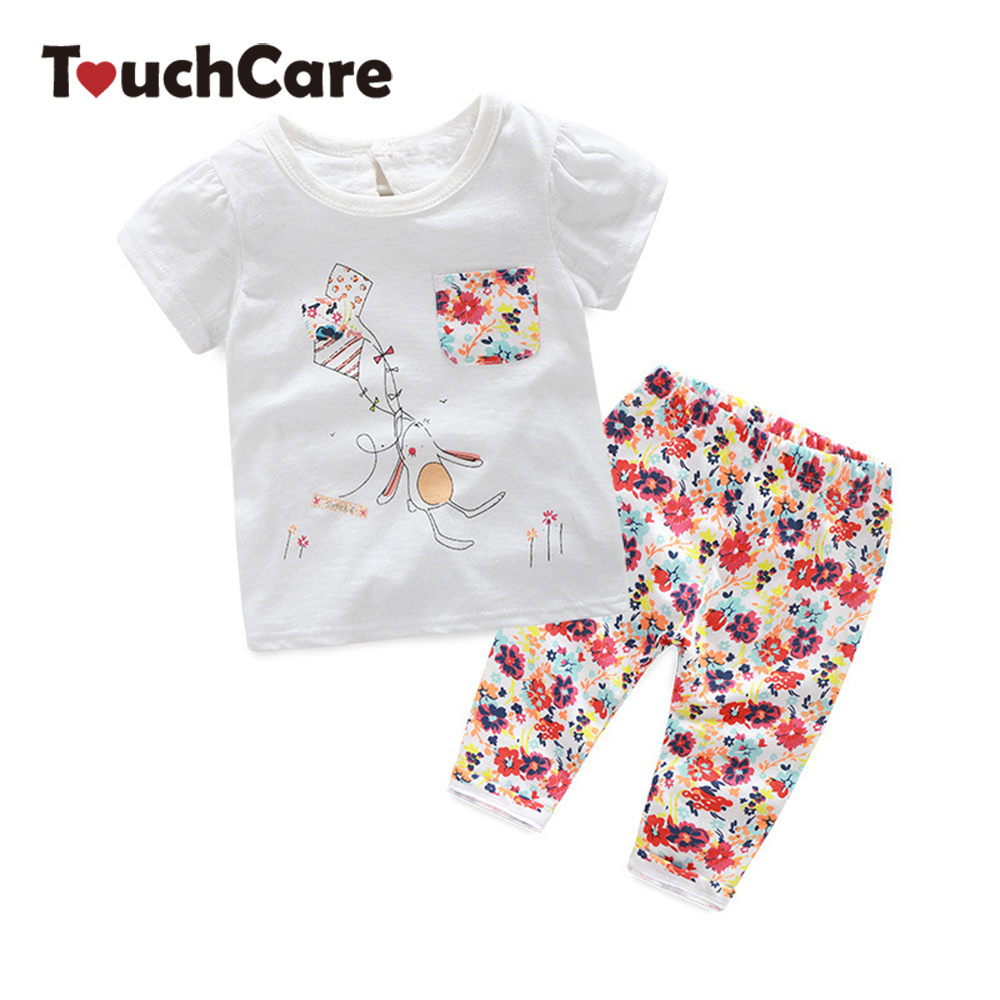 Spring Summer Baby Girl Clothes Set Full Printed Flowers Pants Cute Rabbit T-shirt Kids Clothes Short Sleeve Casual Suit Sets 2pcs children outfit clothes kids baby girl off shoulder cotton ruffled sleeve tops striped t shirt blue denim jeans sunsuit set