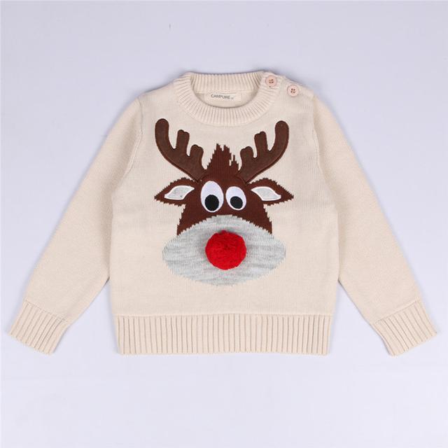 1-5 Y Suéteres de Invierno Suéteres Bebé Niños Niñas Suéter de Punto Suéter de Los Ciervos de Navidad Niños Ropa de Manga Larga de Los Niños traje
