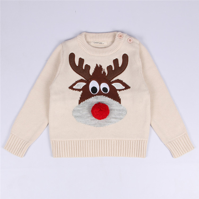 1-5 Y Winter Pullovers Christmas Baby Sweaters Boys Girls Knitted Sweater Deer Sweater Kids Clothes Long Sleeve Children Costume