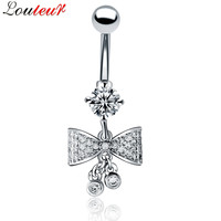 LOULEUR 2017 New Butterfly AAA Zircon Belly Button Rings Navel Piercing Jewelry Stainless Steel Belly Ring