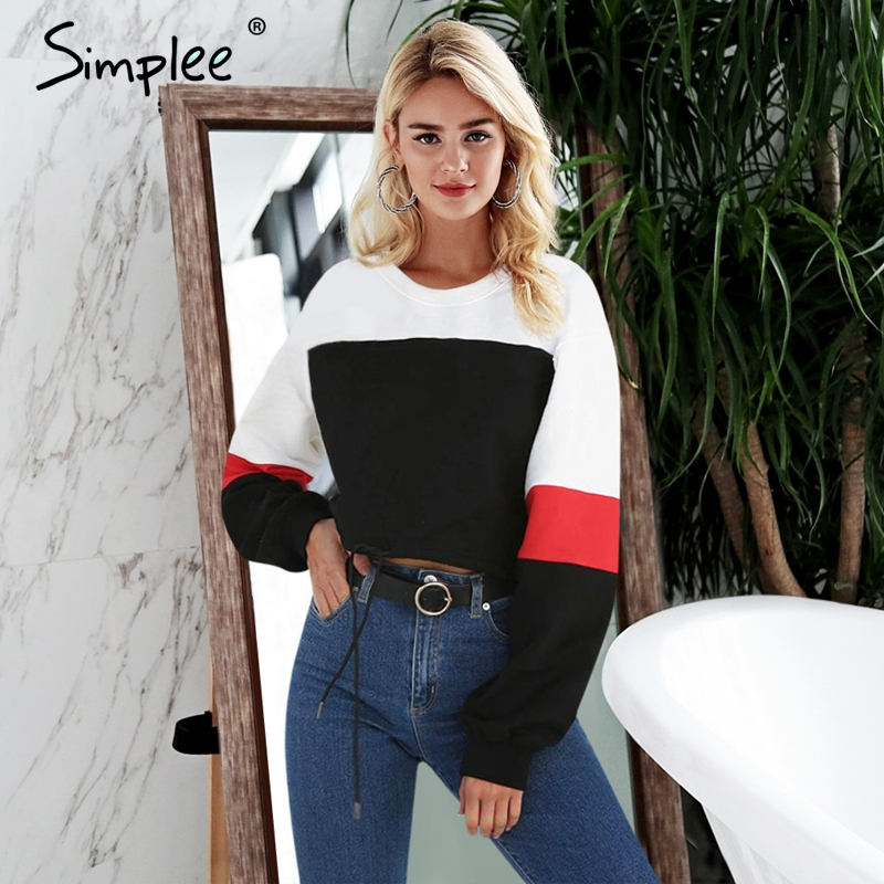 Simplee O Neck Patchwork Cropped Pullover Women Knitted Sweatshirt Long Sleeve Drawstring Hoodies Casual Outwear Swearshirt