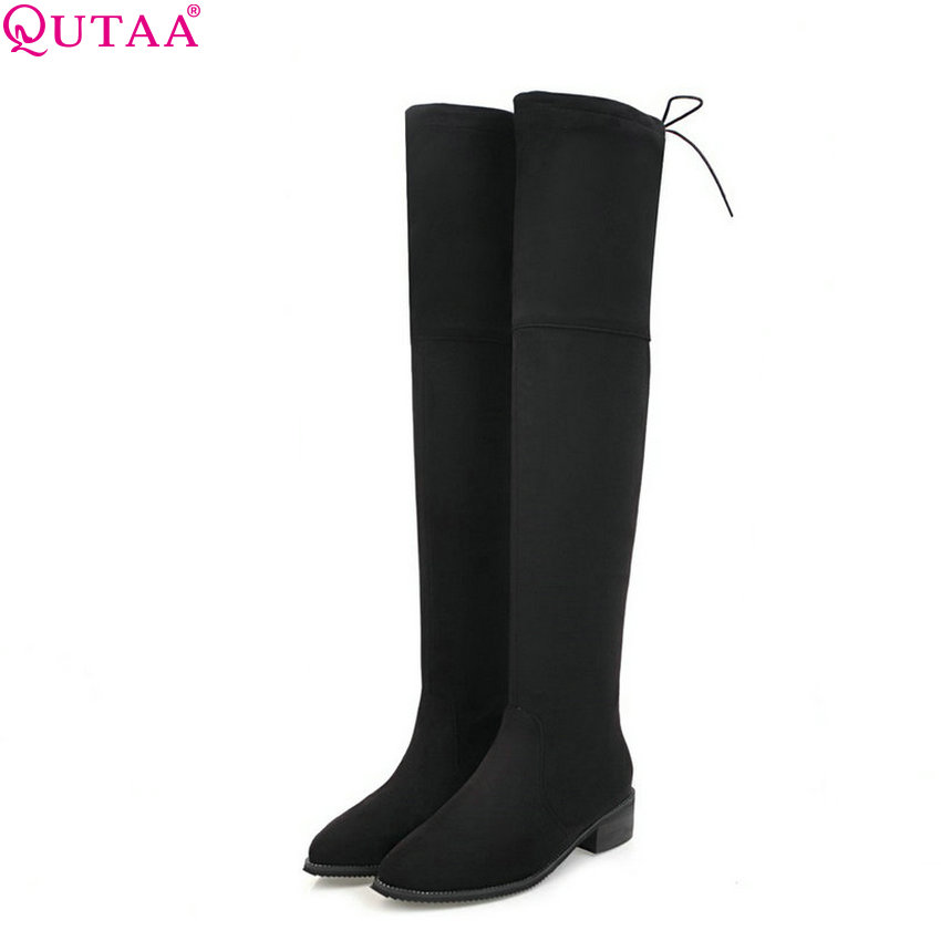 QUTAA 2018 New Sexy Women Over The Knee High Boots Fashion Pointed Toe Square Mid Heel Solid Black Women Boots Size 34-43 qutaa 2017 women over the knee high boots all match pointed toe high quality thin high heel pointed toe women boots size 34 43