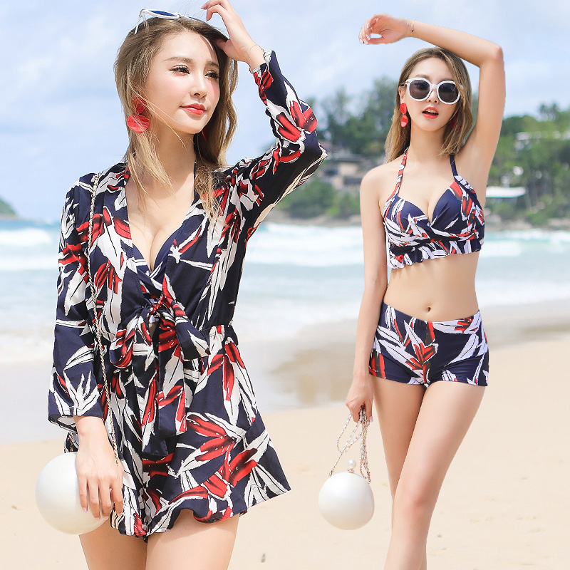 2018 New Sexy Floral Bikinis Women Swimsuit Push Up Plus Size Swimwear Dress BeachWear Bathing Suits Bikini Set Halter Swim Wear plus size swimwear one piece swimsuits sexy women push up padded bikinis floral beach bathing suits push up swim wear monokini