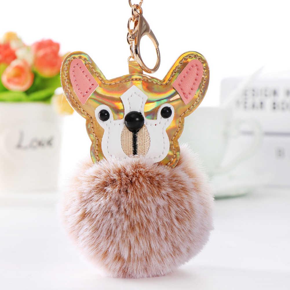 2019 Encantador Dos Desenhos Animados Cão Pompom Titular Anel Chave Chaveiro Mulheres Mochila Presente Do Ornamento
