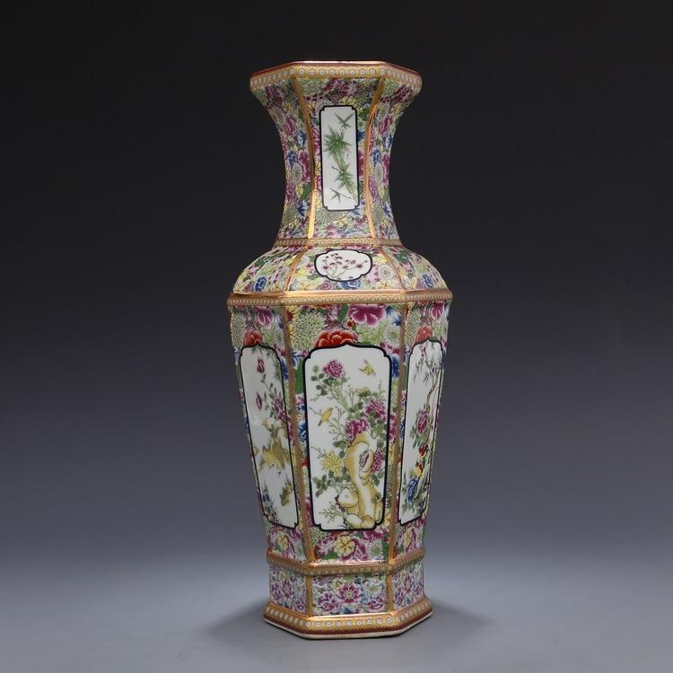 Jingdezhen antique artisanat Qing Dynastie qianlong émail Or Hexagonal vase antique collection ornements