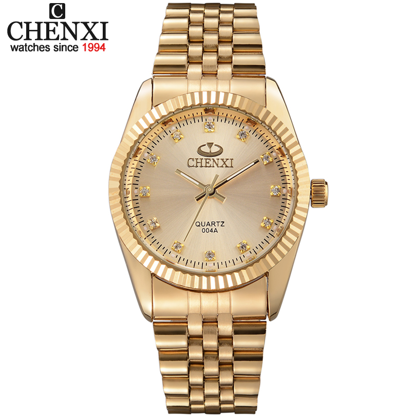 Golden New Clock gold Fashion Men watch full gold Stainless Steel Quartz watches Wrist Watch Wholesale CHENXI Gold watch men all in 1 mega328 transistor tester diode triode inductor capacitance esr meter digital led mos npn tester meter 12864 graphic dc