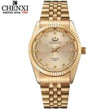 Hombres de la moda del reloj de oro llena de oro nuevo reloj de oro de cuarzo de acero inoxidable relojes reloj de pulsera al por mayor chenxi reloj de oro los hombres