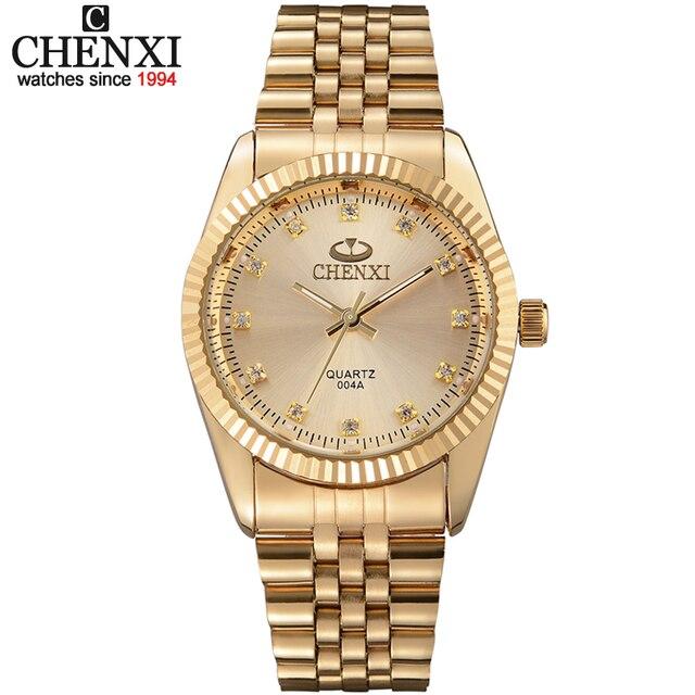 Golden Nieuwe Klok goud Mode Mannen horloge volledige gold Rvs Quartz horloges Polshorloge Groothandel CHENXI Gouden horloge mannen