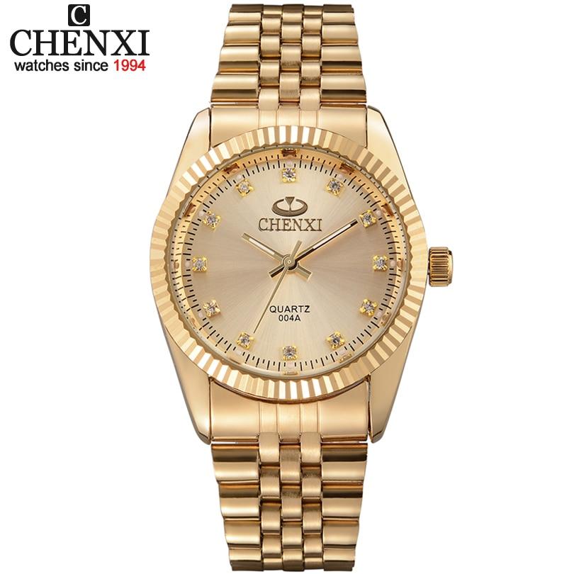 Or new horloge or mode hommes montre plein or en acier inoxydable montres à quartz montre-bracelet en gros chenxi montre en or hommes