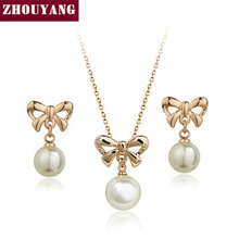 ZHOUYANG Top Quality ZYS258 Bowknot Peal Rose Gold Color Jewelry Necklace Earring Set Rhinestone Made with Austrian Crystals