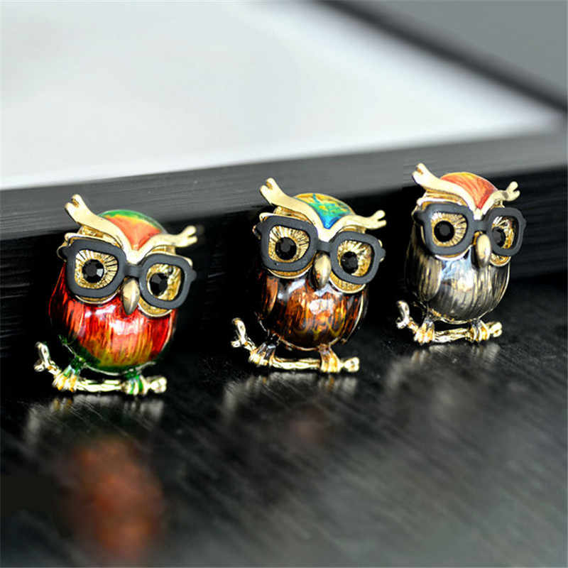 Gold Color Alloy Black Glasses Owl Brooches For Women And Men Metal Bird Animal Red Enamel Pin Brooch Jewelry Christmas Gifts