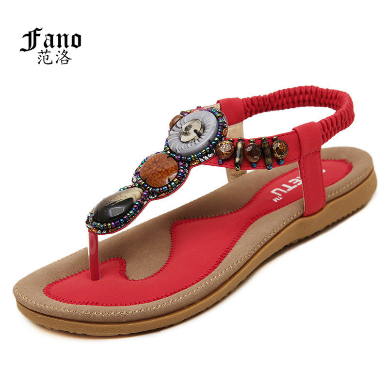 Woman 2017 New Summer Flat Sandals Ladies Summer Bohemia Beach Flip Flops Shoes Women Shoes Scarpe
