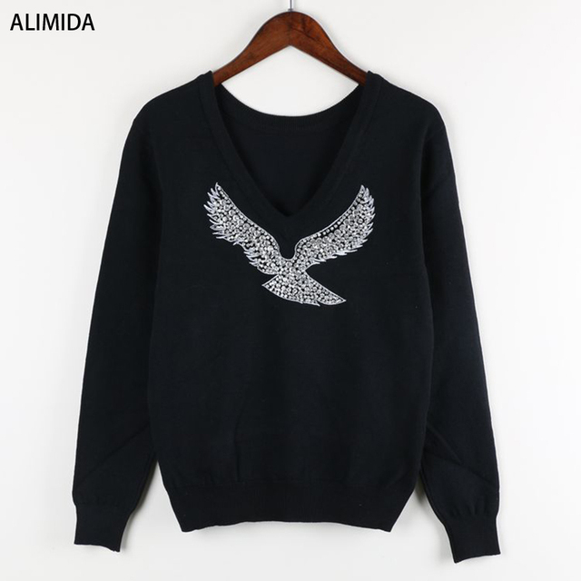 S-XL 2017 Spring New Fashion Women Sweaters Full Sleeve V-Neck Beaded Eagle Diamond Pullovers Computer Knitted Pageant