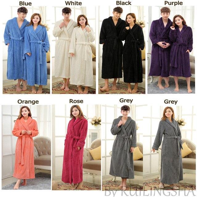 Hot Selling Women Long Thick Warm Winter Super Bath Robe Lovers Kimono  Bathrobe Men Dressing Gown Bride Wedding Bridesmaid Robes 826e44d15