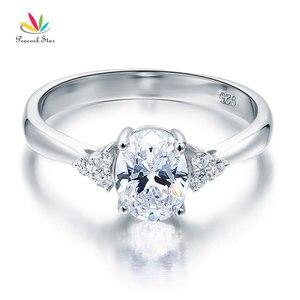 Image 3 - Павлин звезда твердое 925 пробы Серебряное обещание кольцо доступная Свадьба овальной огранки создан Диаманте CFR8123