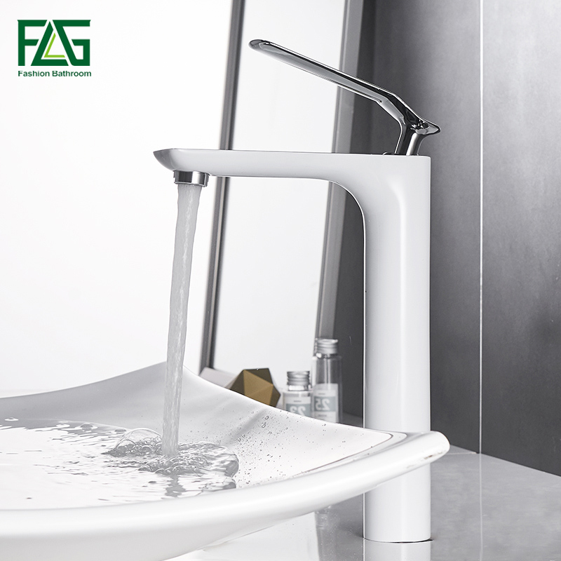 FLG Basin Faucets Modern Chrome Finished Bathroom Faucet Single Hole Cold and Hot Water Tap White Basin Faucet Mixer Taps micoe hot and cold water basin faucet mixer single handle single hole modern style chrome tap square multi function m hc203