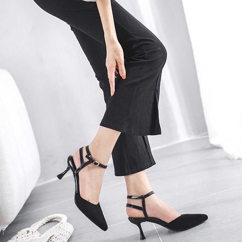 MAIERNISI Yüksek 6.5 CM Ince Topuklu Kadın Pompaları Sandalet Ayakkabı Büyük Boy Bayanlar Sivri Burun Yüksek Topuklar Elbise parti ayakkabıları