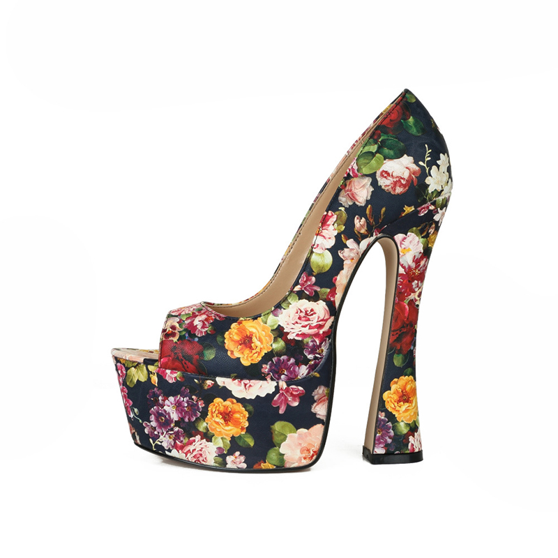 Kappe 40 Hohe Hochhackigen Öffnen Frauen Mode Black Große Schuhe 46 Heels Plattform Dame flower red 17 Ferse Größe Sexy Cm Bwx8qE6P
