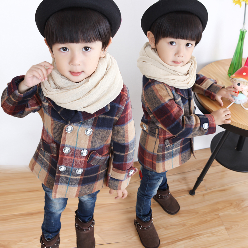 2016 Autumn Toddler Boys Coats Clothes Plaid Kids Jacket Turn-down Collar Long Sleeve Single Breasted Fashion Kids Plaid Coat casual turn down collar color block drawstring design long sleeve coat for women