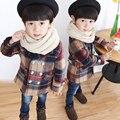 2016 Outono Criança Meninos Casacos Roupas Xadrez Crianças Jaqueta Turn-down Collar Manga Comprida Único Breasted Moda Infantil Xadrez casaco