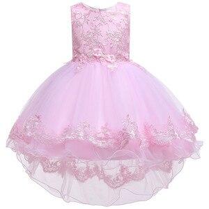 Image 4 - Kinder Geburtstag Kleidung Stickerei Spitze Großen Bogen Baby Mädchen Kleid für Hochzeit Kinder Kleider für Mädchen Hinter Kleid